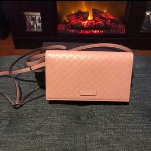 Gg Wallet Soft Pink Leather Crossbody Bag Like NEW